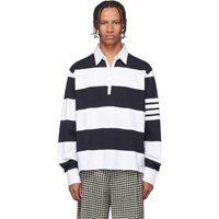 Thom Browne Navy And White 4 Bar Oversized Long Sleeve Polo