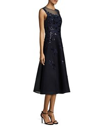 Teri Jon Sequined Applique Lace Dress Navy
