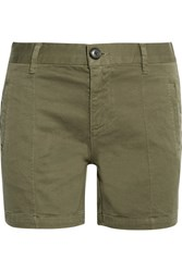 Frame Le Cuffed Cotton Blend Shorts Army Green