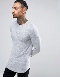 Asos Knitted Longline Muscle Long Sleeve T Shirt With Curve Hem Grey