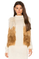 Mother Tri Faux Fur Vest Brown