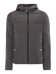 Original Penguin Men's Melange Hooded Padded Coat Dark Grey