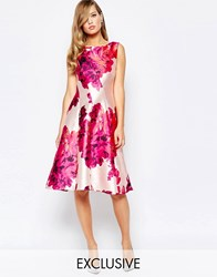 True Violet Full Sateen Skater Dress In Bold Floral Print Pink Floral Print
