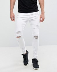 Good For Nothing Super Skinny Jeans In White With Distressing White