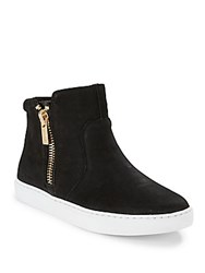 Kenneth Cole Reaction Josie Round Toe Leather Sneakers Black