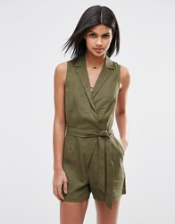 Asos Linen Shirt Detail Playsuit Khaki Green