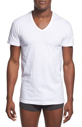 2Xist Slim Fit V Neck Cotton T Shirt 3 Pack White