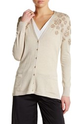 Oscar De La Renta V Neck Long Sleeve Floral Sequin Embellished Cardigan Metallic