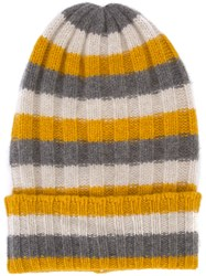 The Elder Statesman Cashmere Striped Beanie Yellow Orange