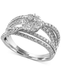 Effy Final Call Diamond Floral Crisscross Ring 1 1 3 Ct. T.W. In 14K White Gold