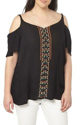 Evans Plus Size Women's Embroidered Off The Shoulder Top Black