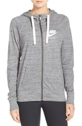 Nike Women's 'Gym Vintage' Front Zip Hoodie Carbon Heather Sail