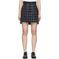 Thom Browne Navy Pleated Windowpane Shadow Check Miniskirt