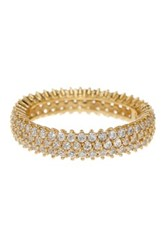 Suzy Levian Jewelry 14K Yellow Gold Plated Micro Pave White Cz Eternity Band