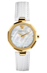 Versace Women's Idyia Leather Strap Watch 36Mm White Mop Gold