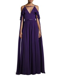 Elie Saab Long Sleeve Cold Shoulder Strappy Gown Purple