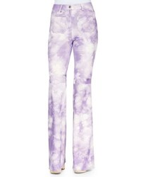 Michael Kors Tie Dye Leather Bell Bottom Pants Wisteria
