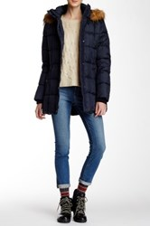 Tommy Hilfiger Faux Fur Trim Down Jacket Blue
