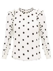 Rebecca Taylor Ruffled Polka Dot Embroidered Silk Blouse Ivory Multi