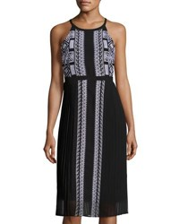 Neiman Marcus Embroidered Chiffon Pleated Dress Onyx