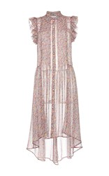 Philosophy Di Lorenzo Serafini Printed Georgette Asymmetrical Short Sleeve Dress Light Pink
