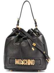 Moschino Drawstring Logo Shoulder Bag Leather Metal Other Black