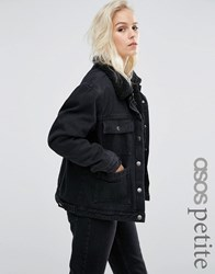 Asos Petite Denim Borg Jacket In Onyx Washed Black With Pockets Washed Black