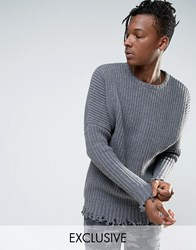 Mennace Oversized Chunky Knit Jumper With Raw Hem In Grey Grey