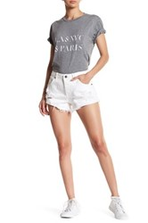 Sincerely Jules Stone Distressed Cutoff Short White