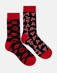 Asos 2 Pack Socks With Lips And Heart Design Black