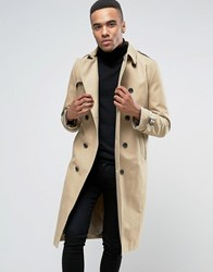 Asos Shower Resistant Longline Trench Coat With Belt In Stone Stone