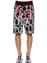 Dolce And Gabbana Graphic Printed Cotton Jersey Shorts Black Red
