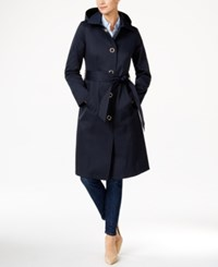 Anne Klein Hooded Water Resistant Trench Coat Night Sky
