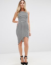 Jessica Wright Striped Pencil Dress With Asymmetric Hem Monochrome Black