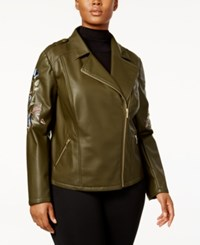 Inc International Concepts Plus Size Embroidered Faux Leather Jacket Created For Macy's Olive Drab