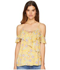 Miss Me Open Shoulder Floral Top Yellow Clothing