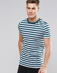 Asos Muscle T Shirt With Stripe In Teal White Teal Green