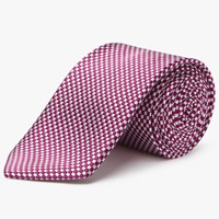 Chester Barrie By Square Check Silk Tie Pink Silver