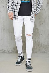 Forever 21 Raw Cut Skinny Jeans White