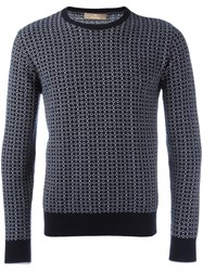 Cruciani Patterned Round Neck Jumper Blue