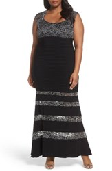 Xscape Evenings Plus Size Women's Metallic Lace And Pintuck Jersey Mermaid Gown Black Silver