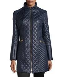 Via Spiga Quilted Puffer Long Coat Navy