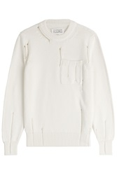 Maison Martin Margiela Maison Margiela Distressed Cotton Pullover White