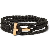 Tom Ford Woven Leather And Silver Tone Wrap Bracelet Black
