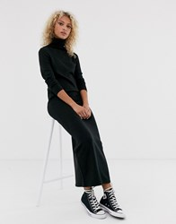 Brave Soul Toulouse Maxi Dress With Roll Neck Black
