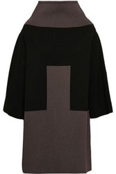 Rick Owens Woman Cape Effect Two Tone Intarsia Knit Turtleneck Sweater Brown