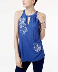 Inc International Concepts Embroidered Halter Top Only At Macy's Sail Blue