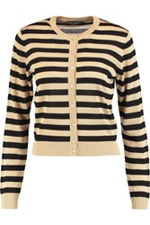 Dolce And Gabbana Striped Metallic Knitted Cardigan Gold