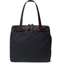 Filson Leather Trimmed Cotton Twill Tote Navy