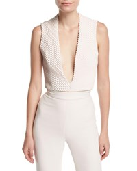 Brandon Maxwell Mitered Silk Deep V Bodysuit Ivory